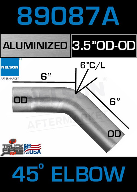"45 Degree Exhaust Elbow Aluminized 3.5"" with 10"" Legs OD-OD"