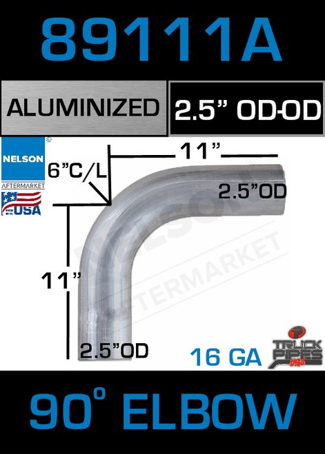 "90 Degree Exhaust Elbow Aluminized 2.5"" with 11"" Legs OD-OD"