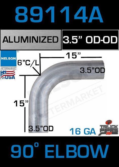 "90 Degree Exhaust Elbow Aluminized 3.5"" with 15"" Legs OD-OD"
