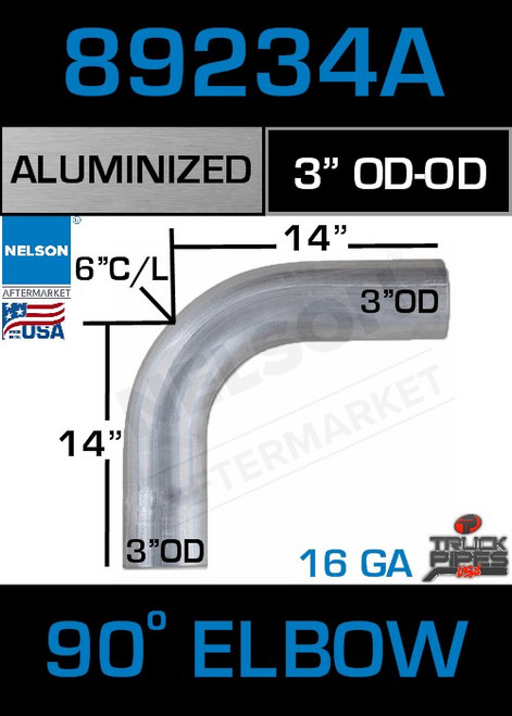 "90 Degree Exhaust Elbow Aluminized 3"" with 13.75"" Legs OD-OD"