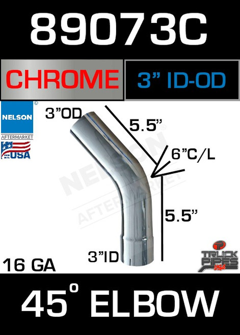 "45 Degree Exhaust Elbow Chrome 3"" with 5.5"" Legs OD-ID"