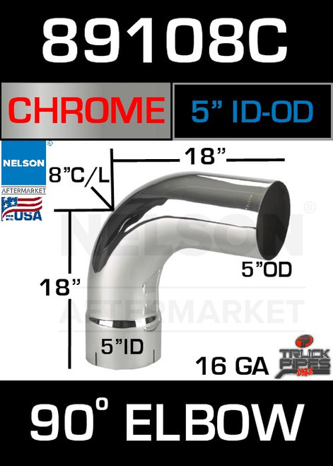 """90 Degree Exhaust Elbow Chrome 5"""" with 17.25"""" Legs ID-OD"""
