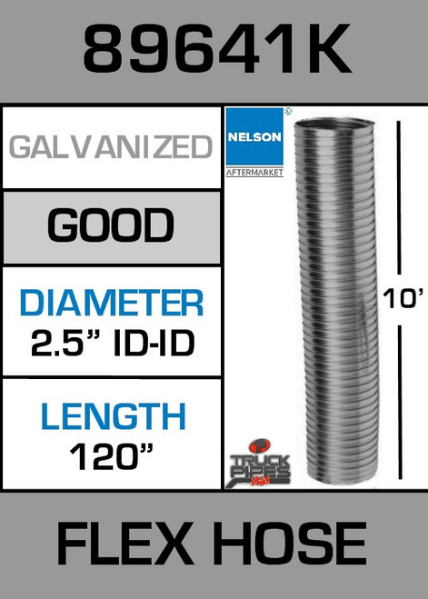 "2.5"" ID x 10' Galvanized Steel Flexible Exhaust 89641K"