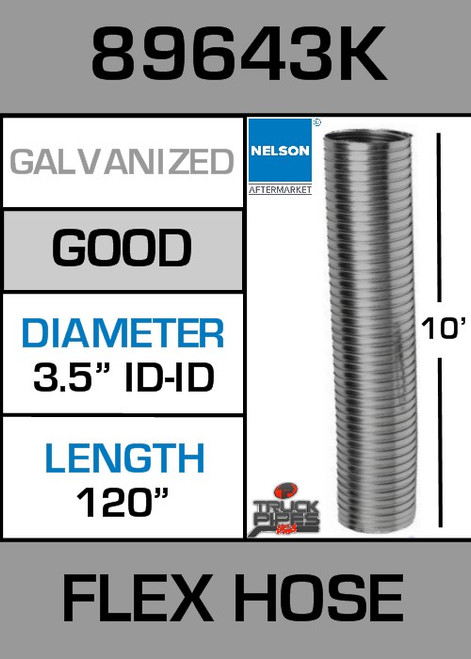 "3.5"" ID x 10' Galvanized Steel Flexible Exhaust 89643K"
