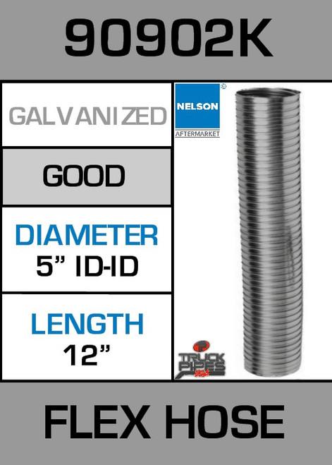 "5"" ID x 12"" Galvanized Steel Flex Pipe 90902K"