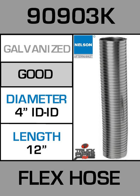 "4"" ID x 12"" Galvanized Steel Flex Pipe 90903K"