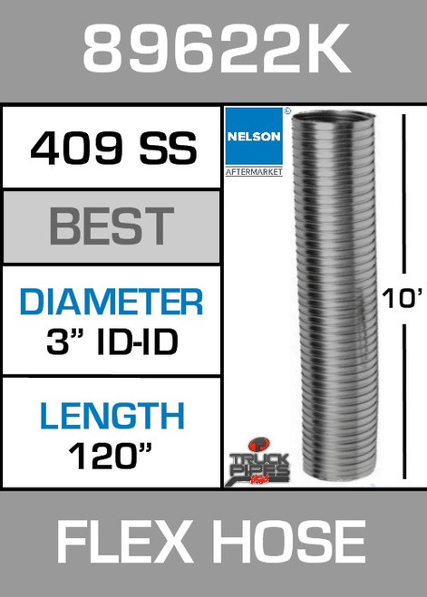 "3"" ID x 10' Stainless Steel Flexible Exhaust 89622K"