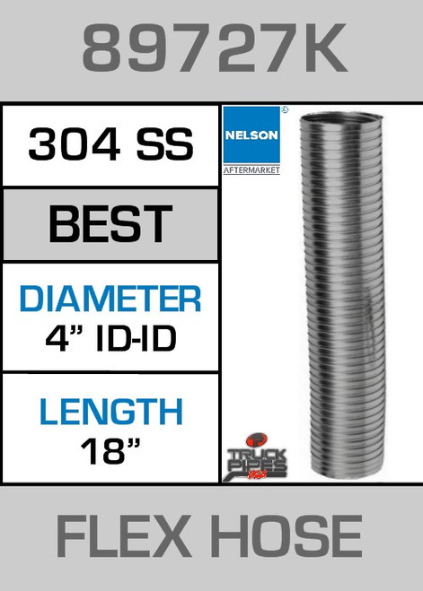 "4"" ID x 18"" 304 Stainless Steel Flex Pipe 89727K"