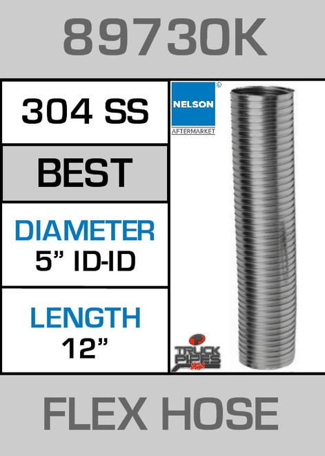 "5"" ID x 12"" 304 Stainless Steel Flex Pipe 89730K"