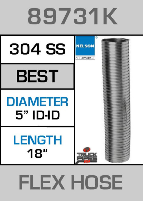 "5"" ID x 18"" 304 Stainless Steel Flex Pipe 89731K"