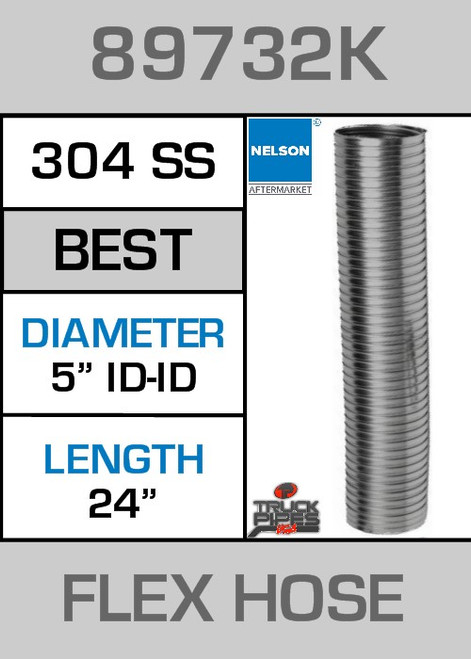 "5"" ID X 24"" 304 Stainless Steel Flex Pipe 89732K"