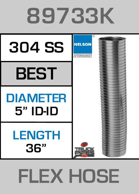 "5"" ID x 36"" 304 Stainless Steel Flex Pipe 89733K"