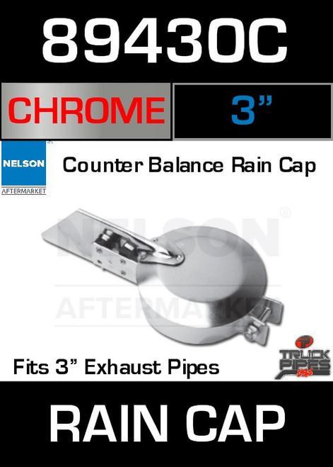 "3"" Exhaust Rain Cap Chrome Plated 89430C"