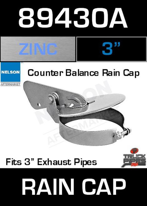 """3"""" Exhaust Rain Cap Zinc Plated 89430A"""