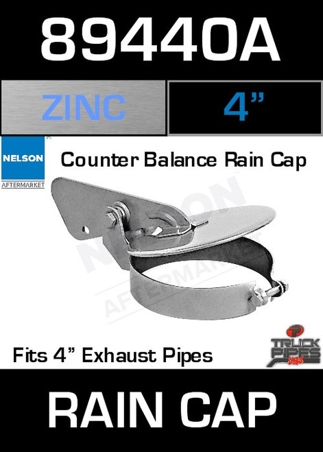 """4"""" Exhaust Rain Cap Zinc Plated 89440A"""