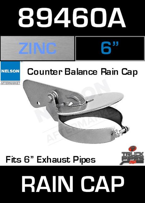 """6"""" Exhaust Rain Cap Zinc Plated 89460A"""