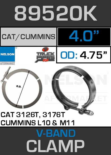"4"" V-Band Cummins L10/M11 CAT 3126T/3176T 4.75 Lip 89520K"