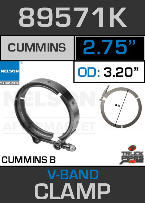 "2.75"" V-Band Clamp for Cummins B Engine 3.22 Lip 89571K"