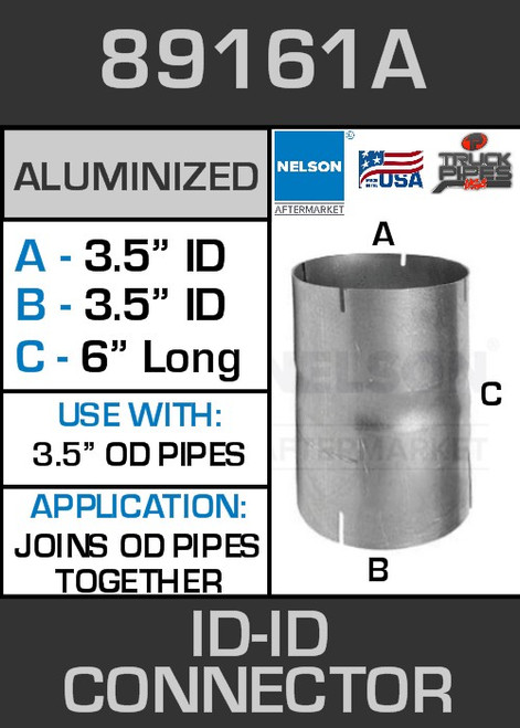 """89161A Exhaust Connector Aluminized 3.5"""" ID to ID Straight Pipe"""