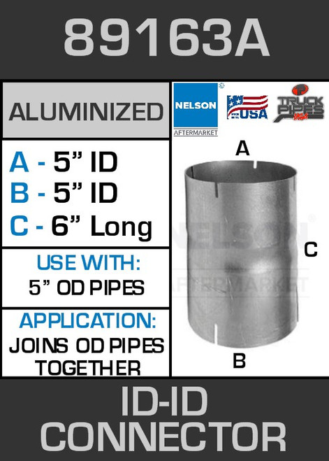 """89163A Exhaust Connector Aluminized 5"""" ID to ID Straight Pipe"""