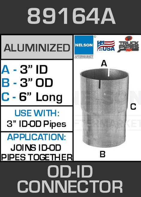 """89164A Exhaust Connector Aluminized 3"""" OD to ID Straight Pipe"""