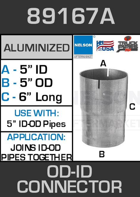 """89167A Exhaust Connector Aluminized 5"""" OD to ID Straight Pipe"""