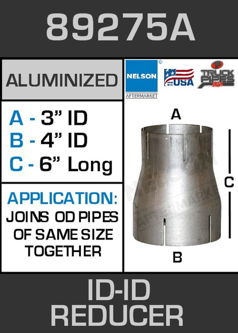 """89275A Exhaust Reducer Aluminized 4"""" ID to 3"""" ID x 6"""" Long"""