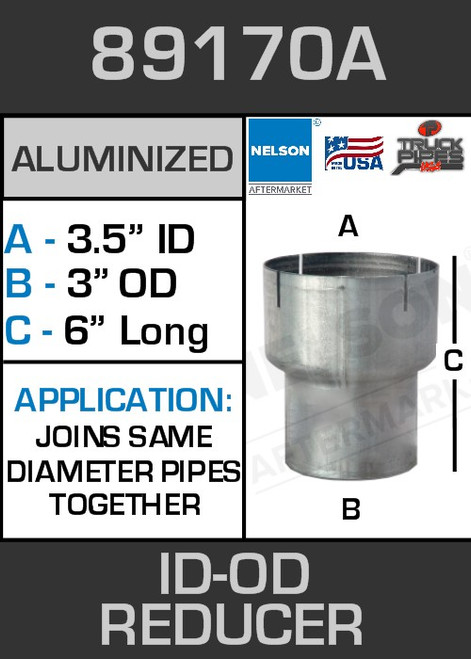 """89170A Exhaust Reducer Aluminized 3.5"""" ID to 3"""" OD x 6"""" Long"""