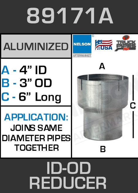 """89171A Exhaust Reducer Aluminized 4 ID to 3"""" OD x 6"""" Long"""