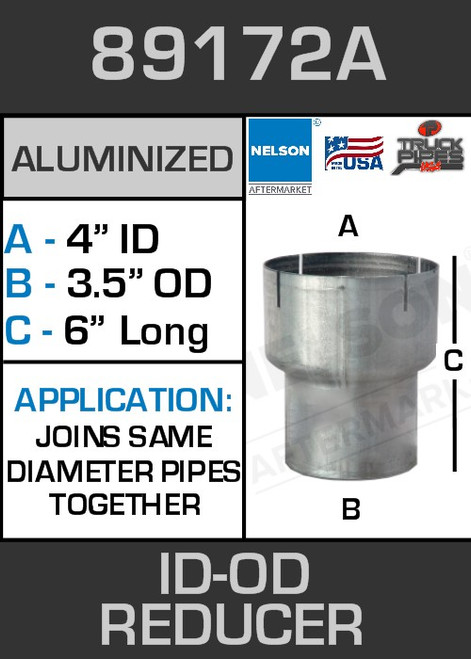 """89172A Exhaust Reducer Aluminized 4"""" ID to 3.5"""" OD x 6"""" Long"""