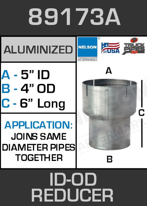"""89173A Exhaust Reducer Aluminized 5"""" ID to 4"""" OD x 6"""" Long"""