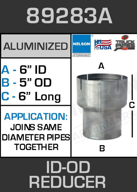 """89283A Exhaust Reducer Aluminized 6"""" ID to 5"""" OD x 6"""" Long"""