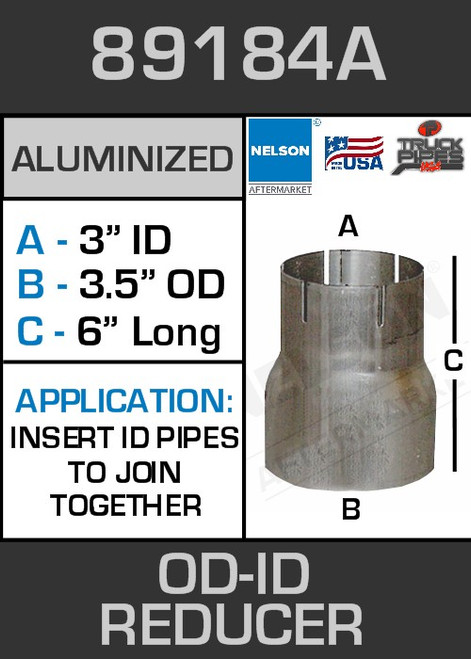 """89184A Exhaust Reducer Aluminized 3.5"""" OD to 3"""" ID x 6"""" Long"""