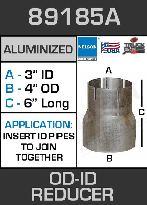 """89185A Exhaust Reducer Aluminized 4"""" OD to 3"""" ID x 6"""" Long"""