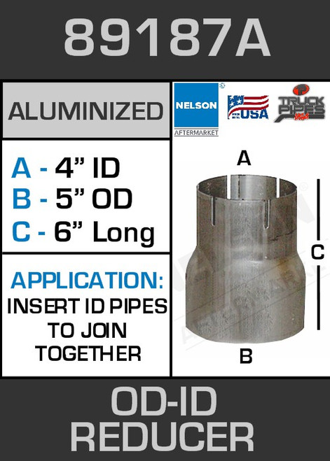 """89187A Exhaust Reducer Aluminized 5"""" OD to 4"""" ID x 6"""" Long"""