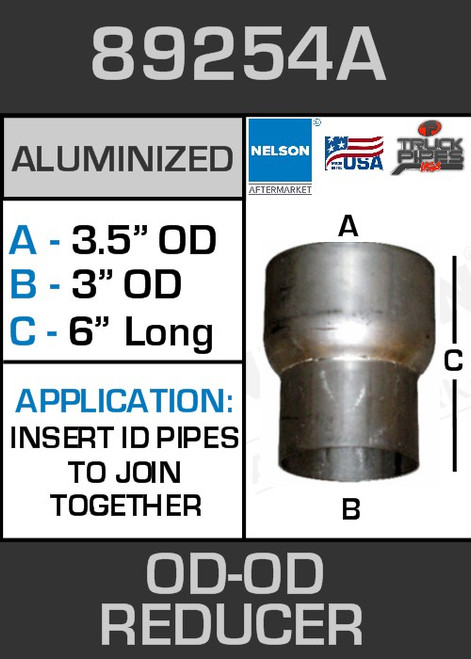 """89254A Exhaust Reducer Aluminized 3.5"""" OD to 3"""" OD x 6"""" Long"""