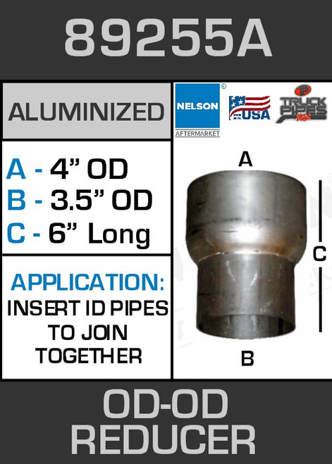 """89255A Exhaust Reducer Aluminized 4"""" OD to 3.5"""" OD x 6"""" Long"""