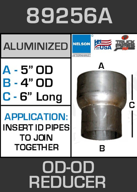 """89256A Exhaust Reducer Aluminized 5"""" OD to 4"""" OD x 6"""" Long"""