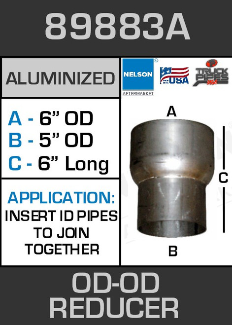 """89883A Exhaust Reducer Aluminized 6"""" OD to 5"""" OD x 6"""" Long"""