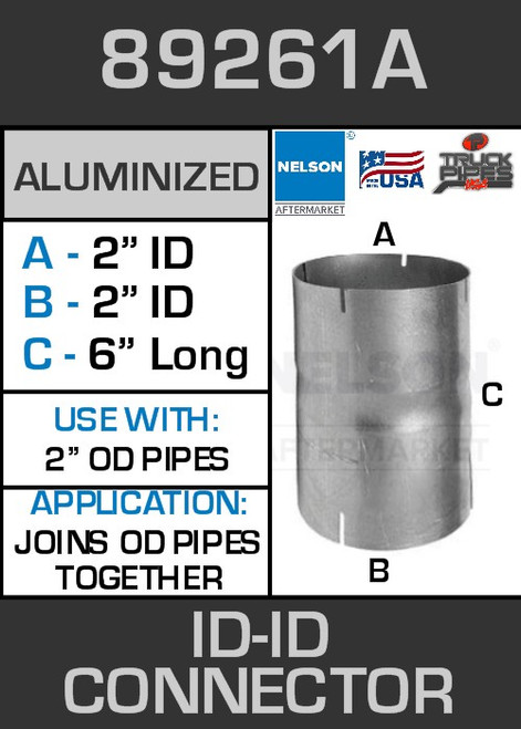 """89261A Exhaust Connector Aluminized 2"""" ID to ID Straight Pipe"""