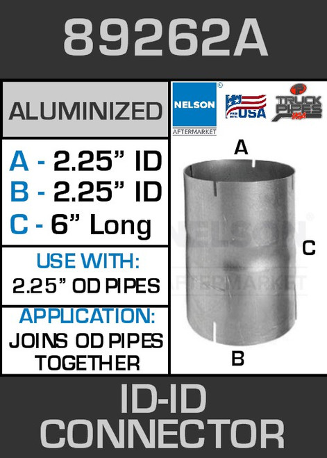 """89262A Exhaust Connector Aluminized 2.25"""" ID to ID Straight Pipe"""