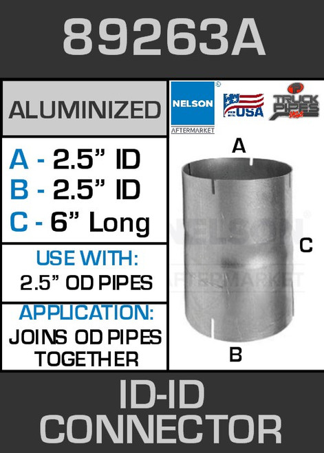 """89263A Exhaust Connector Aluminized 2.5"""" ID to ID Straight Pipe"""