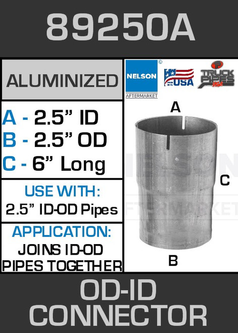 """89250A Exhaust Connector Aluminized 2.5"""" OD to ID Straight Pipe"""