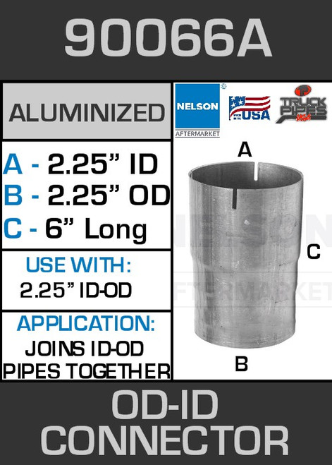 """90066A Exhaust Connector Aluminized 2.25"""" OD to ID Straight Pipe"""