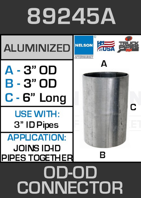 """89245A Exhaust Connector Aluminized Straight Pipe 3"""" OD-OD"""