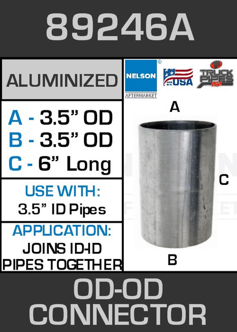"""89246A Exhaust Connector Aluminized Straight Pipe 3.5"""" OD-OD"""