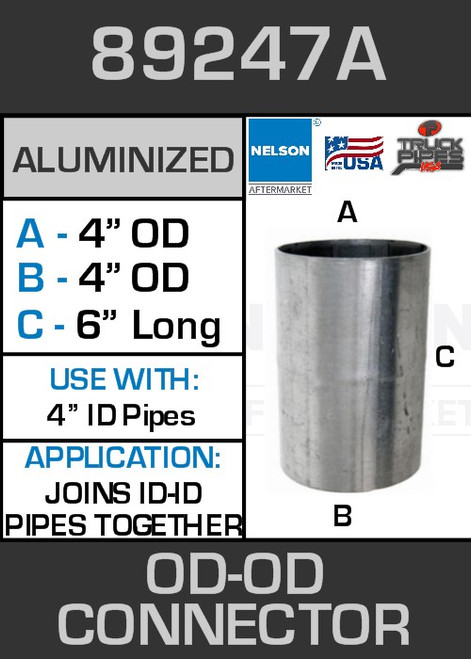 """89247A Exhaust Connector Aluminized Straight Pipe 4"""" OD-OD"""