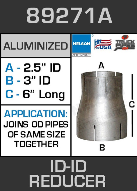 """89271A Exhaust Reducer Aluminized 3"""" ID to 2.5"""" ID x 6"""" Long"""