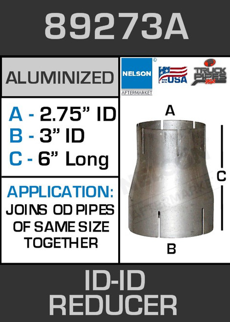 """89273A Exhaust Reducer Aluminized 3"""" ID to 2.75"""" ID x 6"""" Long"""