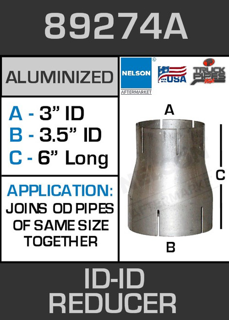 """89274A Exhaust Reducer Aluminized 3.5"""" ID to 3"""" ID x 6"""" Long"""